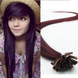 Fialovo-hnedé vlasy - keratin, 50 cm, 25 prameňov (099J)