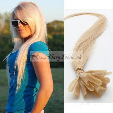 Najsvetlejšie blond vlasy - keratin, 50 cm, 25 prameňov (613)
