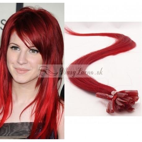 Červené vlasy na predĺženie - keratin, 50 cm, 25 prameňov (red)