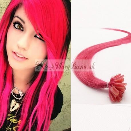 Vášnivé ružové vlasy na predĺženie - keratin, 50 cm, 25 prameňov (hotpink)