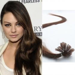 Stredne hnedé vlasy na predĺženie - keratin, 60 cm, 25 premeňov (004)