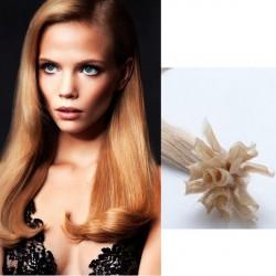 Tmavé blond vlasy na predĺženie - keratin, 60 cm, 25 prameňov (027)
