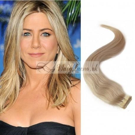 Platinové blond vlasy na predĺženie - Tape-in Remy prúžky, 50 cm (060), 2 ks