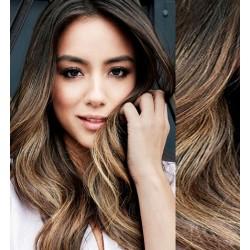 Melírované (tmavý melír) CLIP IN vlasy na predĺženie, vlnité - 50-53 cm