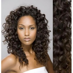 Najtmavšie hnedé CLIP IN vlasy na predĺženie, kučeravé - 50-53 cm