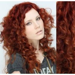 Medené CLIP IN vlasy na predĺženie, kučeravé - 50-53 cm