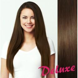 DELUXE stredne hnedé CLIP IN vlasy na predĺženie - 40-43 cm