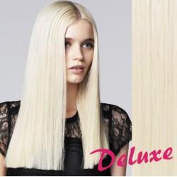 DELUXE platinové blond CLIP IN vlasy na predĺženie - 40-43 cm