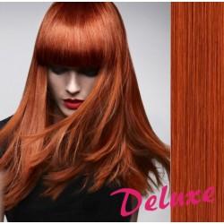 DELUXE medené CLIP IN vlasy na predĺženie - 40-43 cm