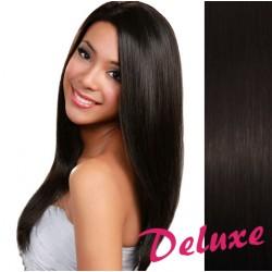 DELUXE prírodné čierne CLIP IN vlasy na predĺženie - 60-63 cm