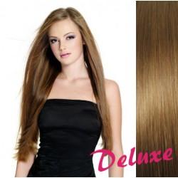 DELUXE svetlo hnedé CLIP IN vlasy na predĺženie - 60-63 cm