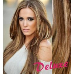 DELUXE melírované (svetlý melír) CLIP IN vlasy na predĺženie - 70-73 cm