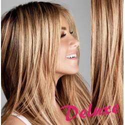 DELUXE melírované (prírodná / svetlejšia blond) CLIP IN vlasy na predĺženie - 70-73 cm