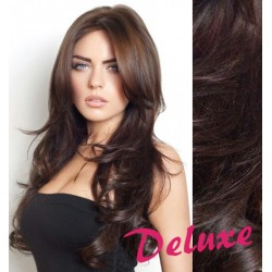 DELUXE najtmavšie hnedé CLIP IN vlasy, vlnité - 50-53 cm