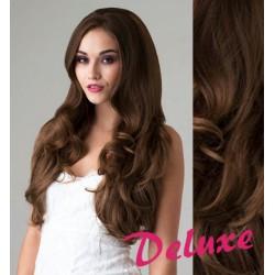 DELUXE stredne hnedé CLIP IN vlasy, vlnité - 50-53 cm