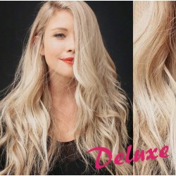 DELUXE platinové blond CLIP IN vlasy, vlnité - 50-53 cm