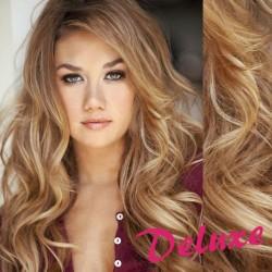 DELUXE melírované (prírodná / svetlejšia blond) CLIP IN vlasy, vlnité - 50-53 cm