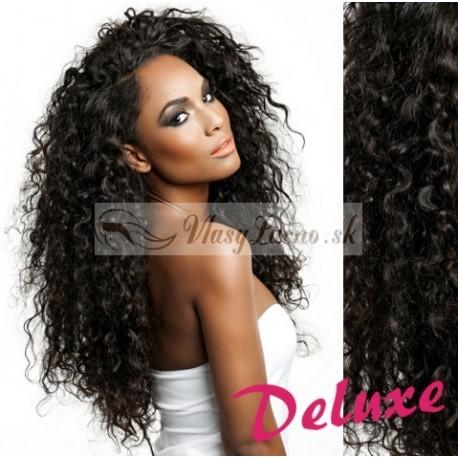 DELUXE prírodné čierne CLIP IN vlasy, kučeravé - 50-53 cm