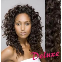 DELUXE najtmavšie hnedé CLIP IN vlasy, kučeravé - 50-53 cm