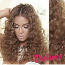 DELUXE svetlo hnedé CLIP IN vlasy, kučeravé - 50-53 cm