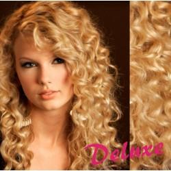 DELUXE prírodné blond CLIP IN vlasy, kučeravé - 50-53 cm