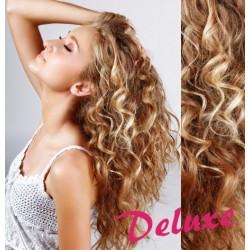DELUXE melirovane (prírodná / svetlejšia blond) CLIP IN vlasy, kučeravé - 50-53 cm