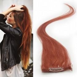 Rudo hnedé vlasy na predĺženie - Clip-in prúžky, 50 cm (350)