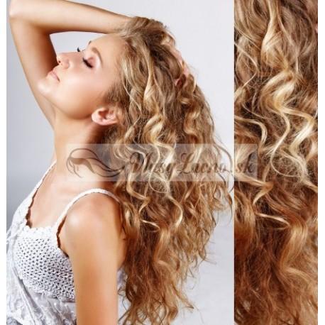 Kučeravé tape-in Remy prúžky, 50-53 cm, 40 ks - prírodná / svetlejšia blond