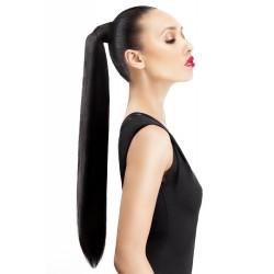 Clip-in cop 50 cm, ľudské vlasy - uhľovo čierna