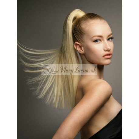 Clip-in cop 60 cm, ľudské vlasy - najsvetlejšie blond