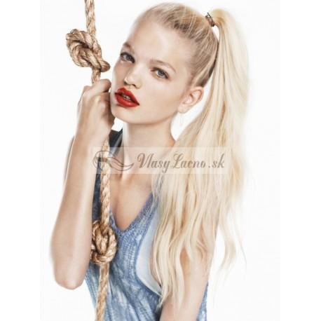 Clip-in cop 60 cm, ľudské vlasy - platinová blond