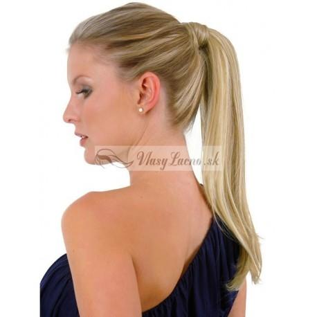 Clip-in cop 60 cm, ľudské vlasy - platina / svetlo hnedá
