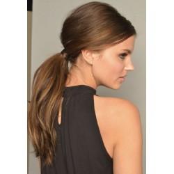 Vlnitý clip-in cop 60 cm, ľudské vlasy - stredne hnedá