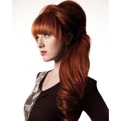 Vlnitý clip-in cop 60 cm, ľudské vlasy - medená