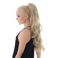 Vlnitý clip-in vrkoč na štipci 60 cm, kanekalon - platinová blond