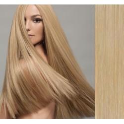 CLIP IN pás 50-53 cm, 100% ľudské vlasy - prírodná blond