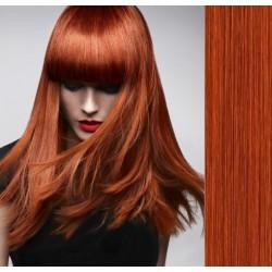 CLIP IN pás 50-53 cm, 100% ľudské vlasy - medená