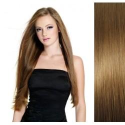 CLIP IN pás 60-63 cm, 100% ľudské vlasy - svetlo hnedá