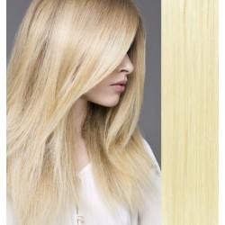 CLIP IN pás 60-63 cm, 100% ľudské vlasy - najsvetlejšia blond
