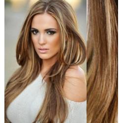 CLIP IN pás 60-63 cm, 100% ľudské vlasy - svetlý melír