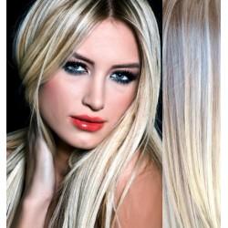 CLIP IN pás 60-63 cm, 100% ľudské vlasy - platina / svetlo hnedá