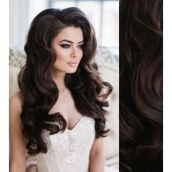 CLIP IN pás 50-53 cm, 100% ľudské vlasy, vlnitý - prírodná čierna