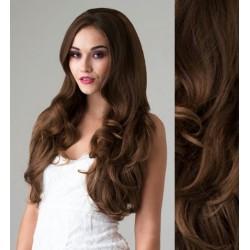 CLIP IN pás 50-53 cm, 100% ľudské vlasy, vlnitý - stredne hnedá