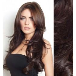 CLIP IN pás 60-63 cm, 100% ľudské vlasy, vlnitý - najtmavšie hnedá