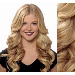 CLIP IN pás 60-63 cm, 100% ľudské vlasy, vlnitý - prírodná blond