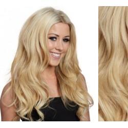 CLIP IN pás 60-63 cm, 100% ľudské vlasy, vlnitý - najsvetlejšie blond