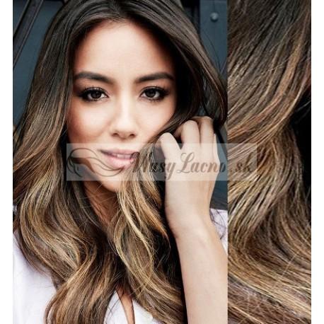CLIP IN pás 60-63 cm, 100% ľudské vlasy, vlnitý - tmavý melír