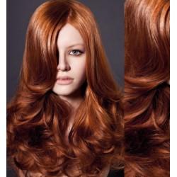 CLIP IN pás 60-63 cm, 100% ľudské vlasy, vlnitý - medená