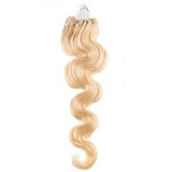 Micro ring, 50 cm 0,7g/pr., 50 ks, vlnité - najsvetlejšia blond