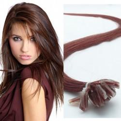 Stredne rudo-hnedé - vlasy s keratínom, 50 cm, 25 prameňov (030)
